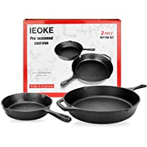 Cast Iron Skillet Set,IEOKE 2 Pieces Pre-seasoned Pan 8-Inch and 12.5 Inch Stovetop Oven Cookware Set Heavy Duty Kitchen Pot