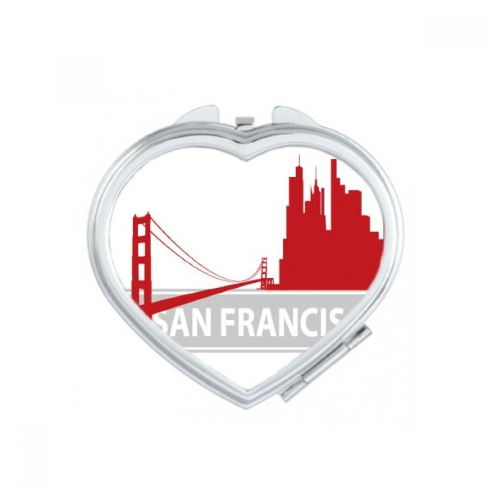 San Francisco America Country City Silhouette Heart Compact Makeup Pocket Mirror Portable Cute Small Hand Mirrors Gift