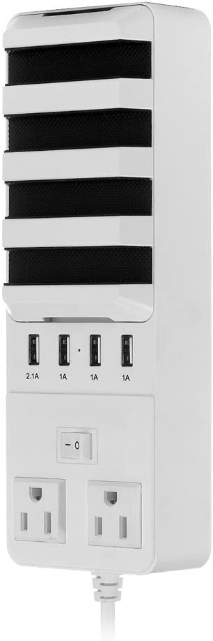 Tobway USB Charging Station,Intelligent Quick Charge USB Charger Station for Apple,Phone,iPhone,Samsung,Smartphone-2 AC Outlets with 4 USB Ports,White
