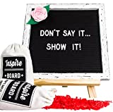Premium Letter Board – Vintage Letter Board & 748 (Ready-to-USE) White & Red Letters, Numbers & Emoji's | 10 X 10 inch Black Felt Changeable Message Board with Rustic Easel & Bonus Pink Felt Flower!