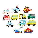 Koolemon 12pcs/lot Vehicles Car Fridge Magnets Whiteboard Sticker Rubber Refrigerator Magnets for Home Decoration Educational Kids Gift