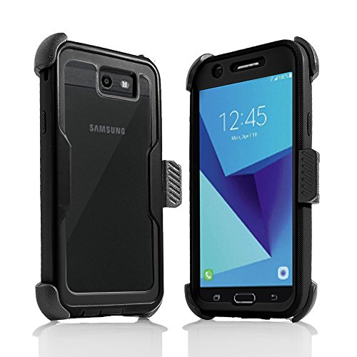 For Samsung Galaxy J7/Sky Pro/J7 Prime/J7V/J727/Perx/Halo Full Body Rugged Holster Explorer Armor Case with Built in Screen Protector (Black) by customerfirst