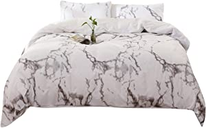 YOSTEV Marble Duvet Cover Set with Button Closure,100% Cotton Ultra Soft Set,Grey and White,King Size