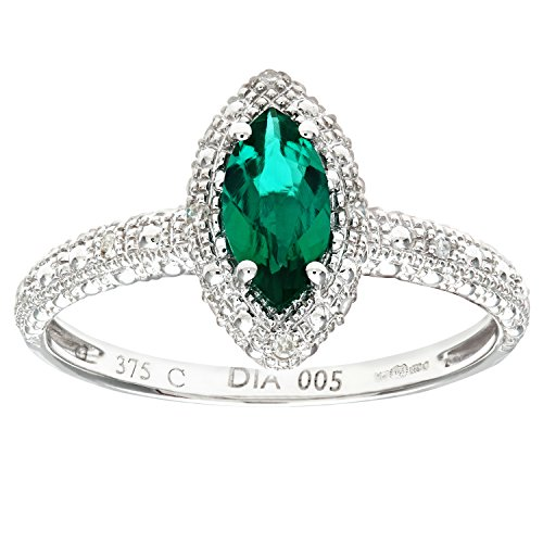 Naava Women's 9 ct White Gold Round Brilliant Cut Created Marquise Emerald...