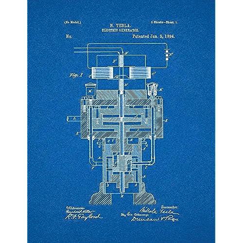 Blueprint artwork amazon tesla electric generator patent print art poster blueprint 85 x 11 malvernweather Image collections