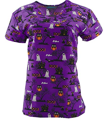 Halloween Scrub Tops Holiday Prints Sizes XS-2XL Medical Nursing NWT (S, Tie Back Orange Cats Owls)
