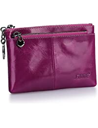 Women's Genuine Leather Triple Zipper Small Wallet Change Coin Purse Card Holder with Key Ring