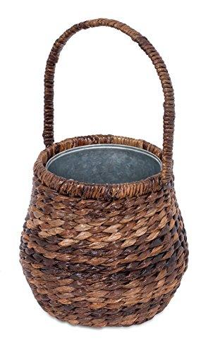 BirdRock Home Abaca Wine Basket with Galvanized Bucket Insert | Espresso | Wine, Soda or Beer Cooler | Parties and Events | Beverage ()