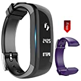 Fitness Tracker Watch - Activity Wristband: Bluetooth band - Wireless Smart Bracelet - Wearable Health Pedometer Sleep Monitor with replacement band for IOS & Android Smartphone - EIISON (Purple Black)