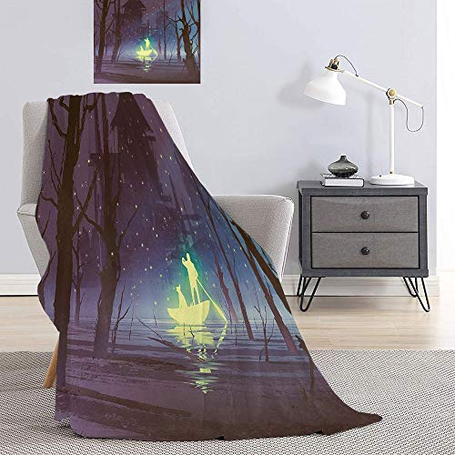SATVSHOP Hypoallergenic blanket-50 x30-Super Soft Light Weight Luxurious Cozy Warm Fluffy Plush.Fantasy Art House Luminous Man and Dog in Boat in iver Firefli Before Haunted House Blue.