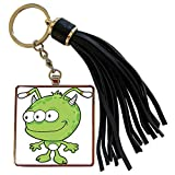 3dRose Dooni Designs Monsters and Alien Designs - Happy Cute Green Alien Monser Cartoon - Tassel Key Chain (tkc_102315_1)