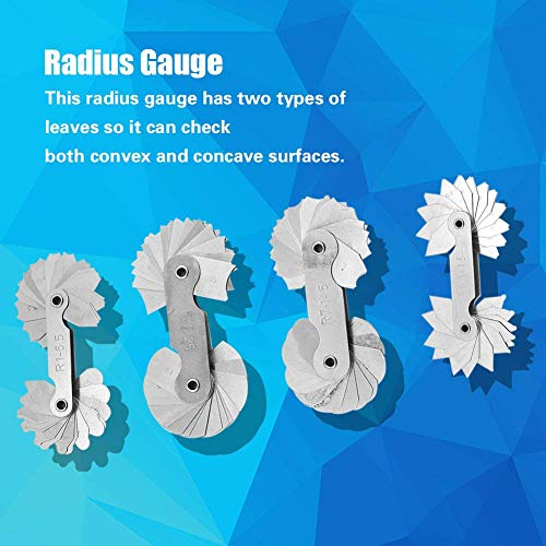 - Radius Gauge Set ,4pcs Stainless Steel Radius Fillet Gauge Measuring Tool R0.3-1.5/ R1-6.5/ R7-14.5/ R15-25