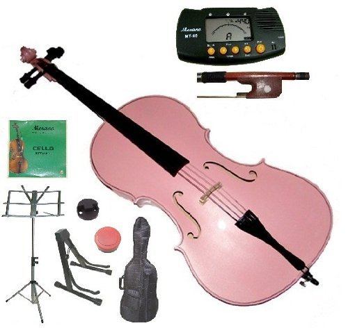 Merano 3/4 Size Pink Student Cello with Bag and Bow+2 Sets of Strings+Cello Stand+Black Music Stand+Metro Tuner+Rosin+Rubber Round ()