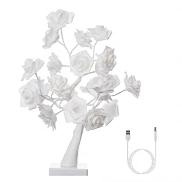 Finether Led Guirlande Lumineuse Arbre Lumineux Led Lampe De Rose 24