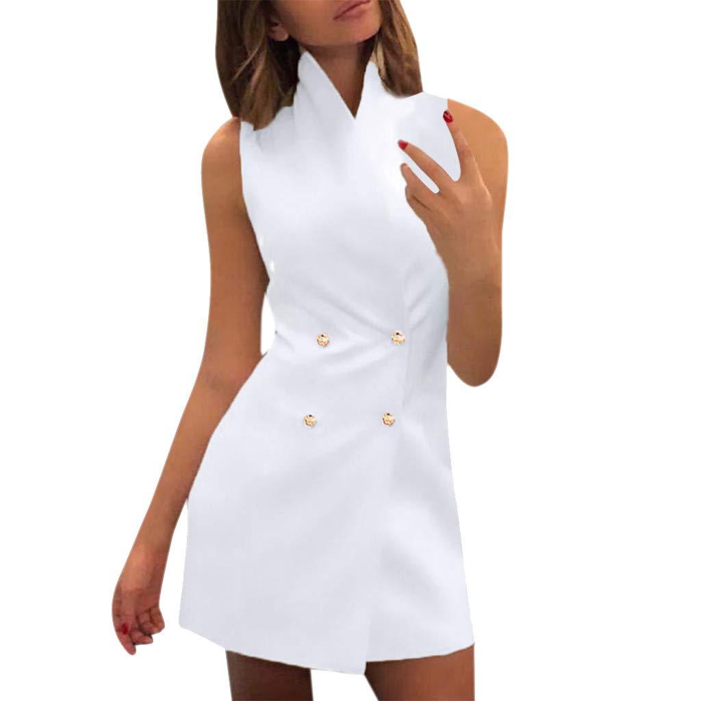 Oufenli Women Sleeveless Dresses Ladies Summer Pencil Mini Dresses Double-Breasted Slim Bodycon Business Work Dress