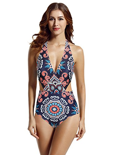 Large One Piece - zeraca Women's Surplice Neckline High Waisted Halter One Piece Monokini Bathing Suit (Tribal, Large/14)