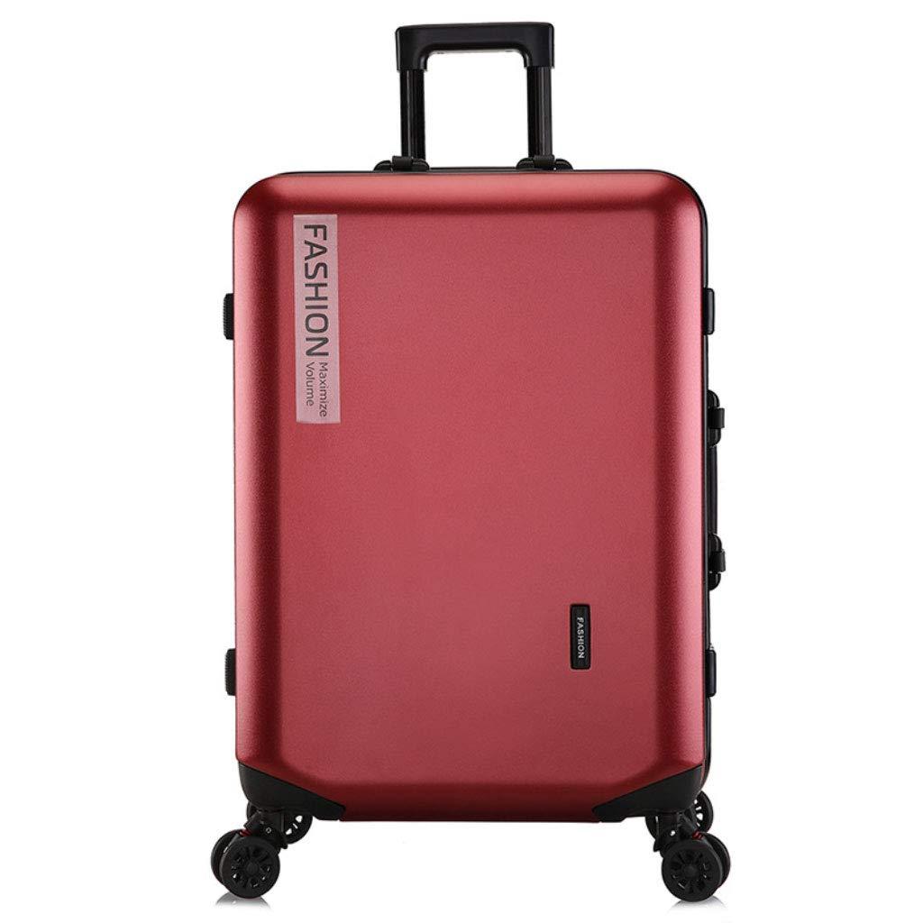 トロリーボックスカスタムPCジッパーユニバーサルホイール荷物ファッションビジネスパスワード20インチのボーディングアウトドアスーツケース (Color : Burgundy, Size : 24 inches)   B07R8X742X