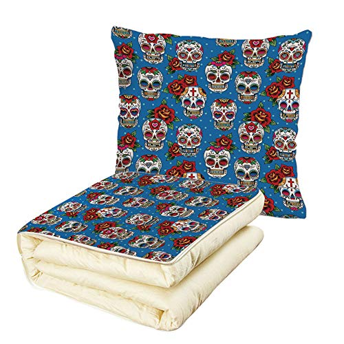 iPrint Quilt Dual-Use Pillow Sugar Skull Decor Retro Mexican Cultural Pattern on Polka Dots Rose Bouquets Skeletons Decorative Multifunctional Air-Conditioning Quilt Multicolor by iPrint