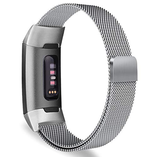 Oitom Metal Bands Compatible Fitbit Charge 3 Band Women Men Small,Magnetic Stainless Steel Milanese Loop Replacement Band Wrist Straps Accessories(Small 5.1-6.7,Silver)