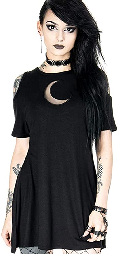 Womens Dresses Fashion Gothic Style Punk Off The Shoulder Bandage Moon Hollow Out Dress