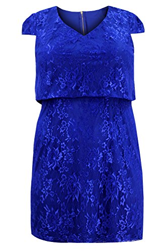 Curvylicious Women's Plus Size Cap Sleeve Lace Overlay Dress 22 Blue