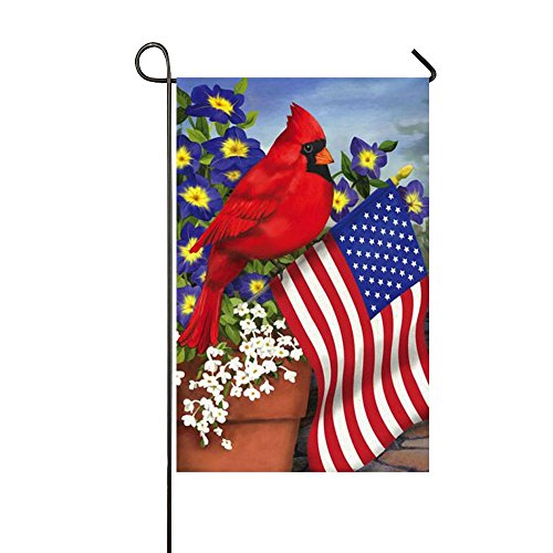 Small Mim American Pride Red Cardinals Purple Morning Glory Garden Flag Holiday Decoration Double Sided Flag 12.5