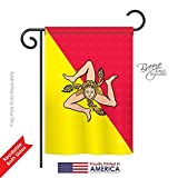 "Breeze Decor G158181 Sicily Flags of the World Nationality Impressions Decorative Vertical Garden Flag 13"" x 18.5"" Printed In USA Multi-Color"