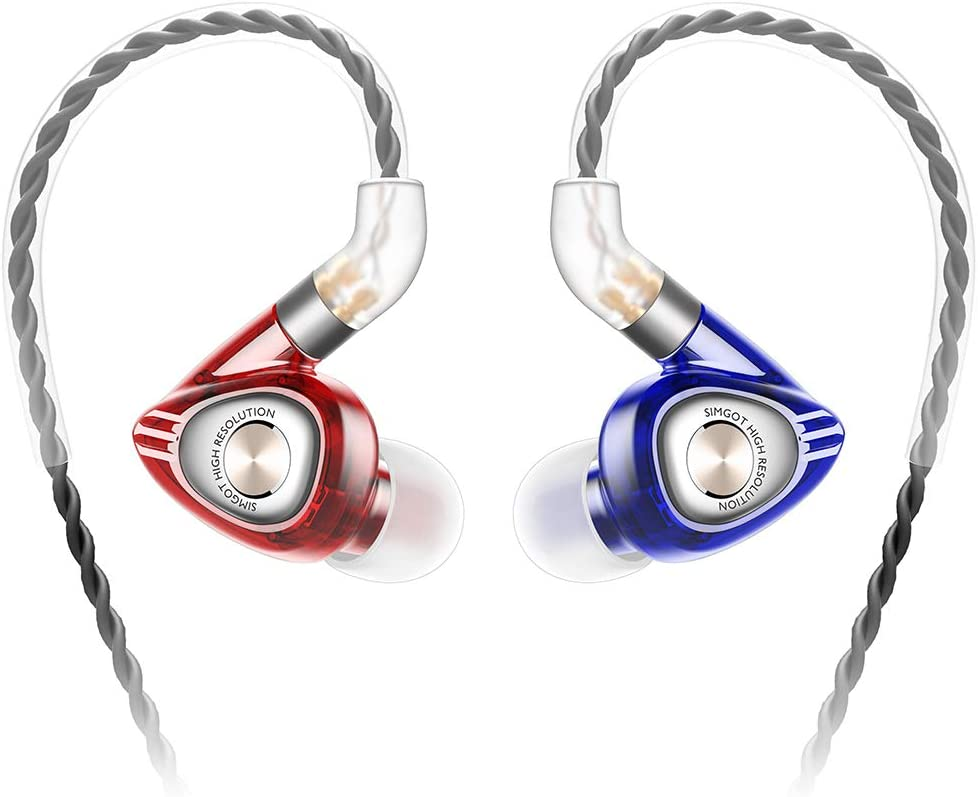 SIMGOT EM1 Hi-Res in-Ear Monitor Headphones, IEM Earphones with Detachable Cable, Dynamic Driver, Noise-Isolating Musician Headset, Design HiFi Earbuds for Smartphones and Audio Players Red Blue