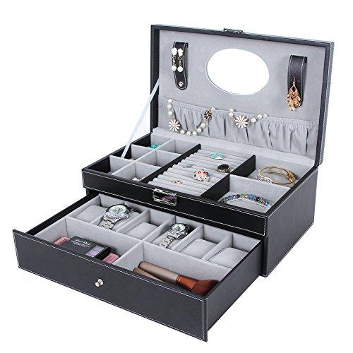 Nice SONGMICS Black Leather Jewelry Box 6 Watch Organizer Storage ...