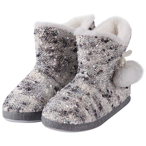 Home Slipper Indoor Bootie Shoes Fleece Lined Fuzzy Fur Anti-Slip House Plush Slippers Cozy Warm Slipper Boots for Women with Pom Poms,L ()
