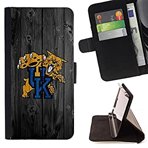 For HTC One M8 Kentucky Wildcat Basketball Beautiful Print Wallet Leather Case Cover With Credit Card Slots And Stand Function