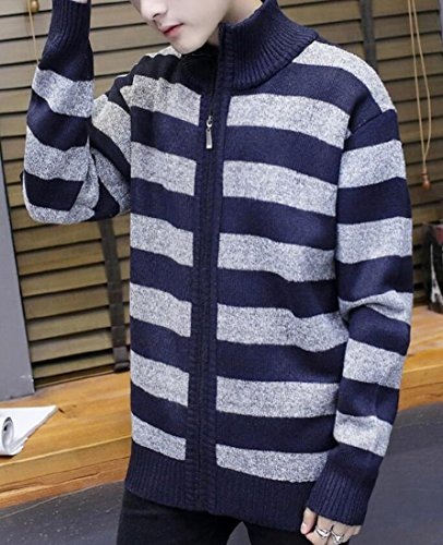 Zipper Navy amp;S Winter amp;W Full Warm blue Cardigan Women's M Print Strip Sweater Bq8gSxW1
