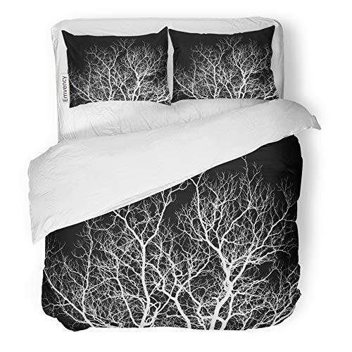 Emvency Decor Duvet Cover Set King Size Creepy Abstraction White Tree Branches on Black Eerie Forest Autumn Evil Horror 3 Piece Brushed Microfiber Fabric Print Bedding Set - Set Cover Enchanted Duvet