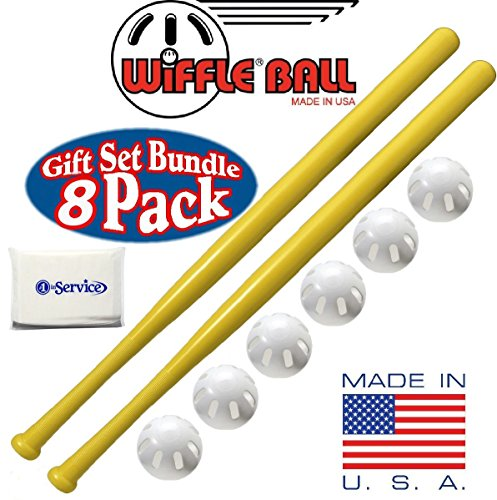 "Wiffle Ball 6 Baseballs Official Size 6 Pack, and Wiffle Ball 32"" Bats 2 Pack Bundle Set, NOIS Tissue Pack Included"