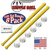 """Wiffle Ball 6 Baseballs Official Size - 6 Pack and Wiffle Ball 32"""" Bats 2 Pack Gift Set Bundle + Bonus NOIS Tissue Pack"""
