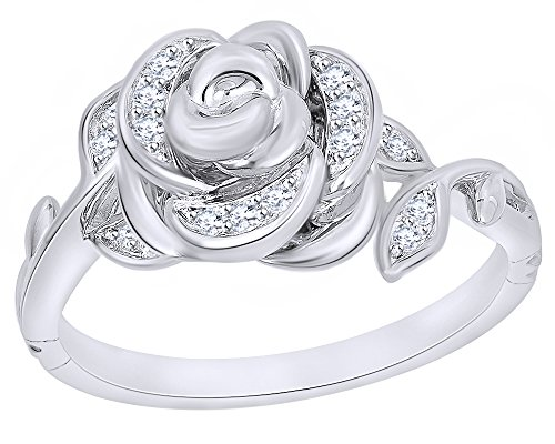 1 10 Ct White Diamond Rose Belle Ring in 9K Solid Gold