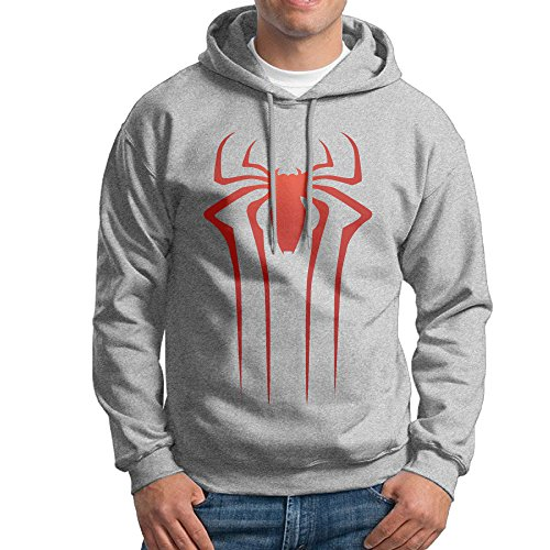 [JXMD Men's The Amazing Spider Hoodie Ash Size XL] (Amazing Spider Man Costumes 360)