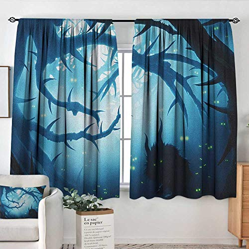 Theresa Dewey Blackout Curtains Mystic,Animal with Burning Eyes in The Dark Forest at Night Horror Halloween Illustration, Navy White,for Room Darkening Panels for Living Room, Bedroom 42