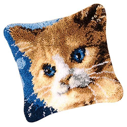 Cat Latch Hook - Prettyia 17x17 Inch Latch Hook Rug Kit DIY Embroidery Cross Stitch Needlework for Cushion Pillow Mat - Cat