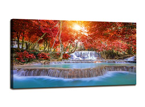 Wall Decorations for Living Room Waterfall Canvas Prints Red Tree Pictures for Living Room Wall Decor Modern Sunshine Photo Prints Large Artwork Wall Pictures for Bedroom Canvas Wall Art 24x48inch]()