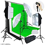 Linco Lincostore Photo Video Studio Light Kit AM174 - Including 3 Color 5x10ft Backdrops (Black/Whtie/Green) Background Screen