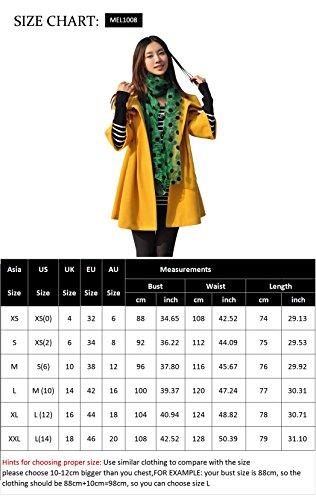 Melansay Women's Princess Wool Winter Coat With Detachable Knit Sleeves M,Black