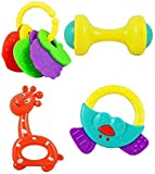 Bornbabykids Non Toxic Baby Toys Rattle Set Of 4 Pieces For Infants And Toddlers - Multi Color