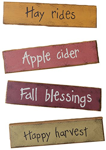 Your Heart's Delight Fall Fun Block Decor Set, 6-3/4 by 1-1/2-Inch ()