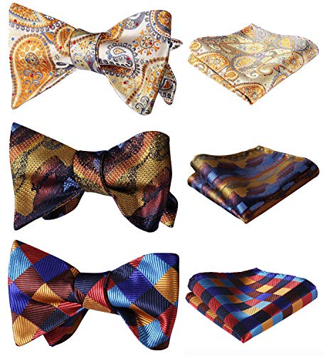 HISDERN 3 Packs Classic Men's Adjustable Self Tie Bow tie & Pocket Square Sets Good Gift for Men