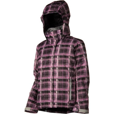 Roxy Girls Roxy Willow Girl - M - Pink Hand-Drawn Plaid Cherry Blosso M by Roxy