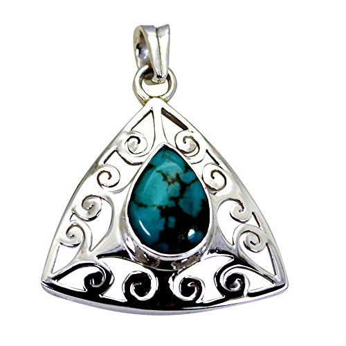 Gemsonclick Genuine Turquoise Pendant For Gifts Silver Birthstone Charm Pear Bezel Style Jewelry ()