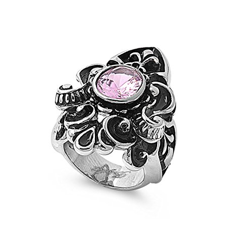 Round Pink Bezel Set Cubic Zirconia Fleur De Lis Ring Stainless Steel Size 8