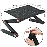 Wonder Worker Newton Ergonomic Folding Laptop Table, Adjustable Laptop Stand, Portable Desk for Laptop, Bed Tray Cooling Pad, Black