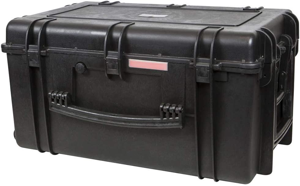 """Monoprice Weatherproof / Shockproof Hard Case with Wheels - Black IP67 level dust and water protection up to 1 meter depth with Customizable Foam, 33"""" x 22"""" x 17"""""""